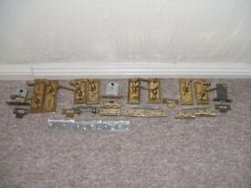 Door Handles Brass for Interior Doors with Matching Latches Hinges and Strike Plates.