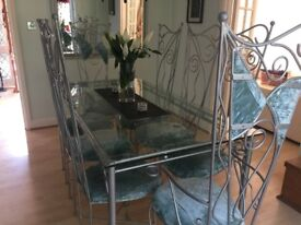 Dining Table and 8 chairs - wrought iron silver with soft turquoise crushed velvet
