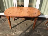 Solid pine extending kitchen table