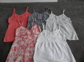 Ladies lovely strappy top bundle x 5, size 10, great condition.
