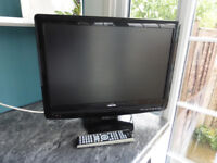 Toshiba Diagonal LCD 22 inch TV Television with incorporated DVD player.