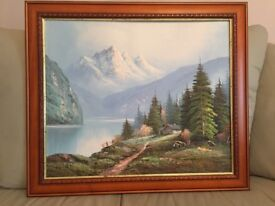 Oil painting on canvas of Alpine Spring/Summer scene with chalet & lake
