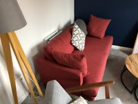 Good condition Next 3 seater sofa, 12 months old, Rustic red