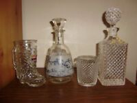 Decanter x 2, matching drinking glass and a beer glass