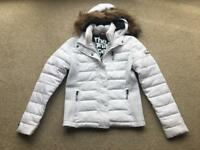 SuperDry - White Fuji Slim Double Zip Hooded Jacket - Size M (good condition)