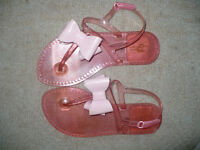 Pink jelly sandals with bow size 12.