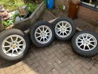 "rrp £570 Dezent Alloy wheels 15"" inch x 6.5j 5x100 alloys 10 spoke wheel 195 65 15 tyres"