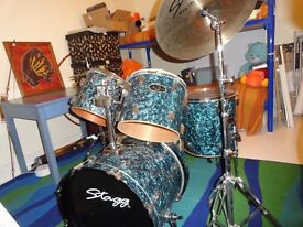 Stagg drum kit with stool and sticks