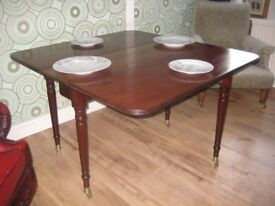 Stunning Original Victorian Mahogany Drop Leaf Dining Table With Brass Feet And Castors