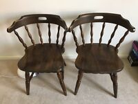 Set of 2 wooden dining/kitchen chairs with covers