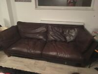 Modern 3 seater John Lewis brown leather sofa. Good condition . Buyer collects . £75