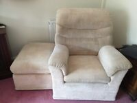 Two Easy Chairs complete with 2 Pouffe's