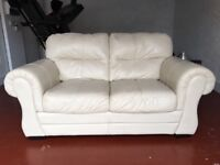 2 seater cream leather couch for sale DFS