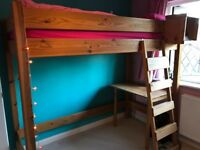 "Large pine cabin bed 6' 7.5""x 5'9"" x 3'4"" excl mattress"
