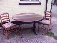 Dining table 2 chairs Beautiful detail old Antique Delivery Available