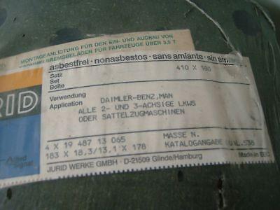 LKW Bremsbeläge JURID / Satz 410x180 für Daimler Benz, MAN (alle 2- u. 3-Achser)