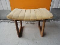 VINTAGE RETRO 1970s CURVED TEAK G-PLAN STYLE DRESSING TABLE / PIANO STOOL