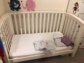 Mamas & Papas Alpine Cot Bed / Toddler Day Bed - white finish