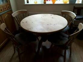 Vintage pine round farmhouse dining table & 4 chairs pedestal shabby chic project