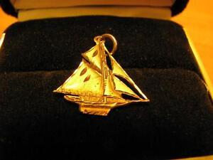 10K Gold Sail Boat Pendant