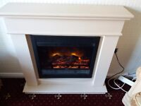 Avalon Electric Suite Cream stone finsh fireplace