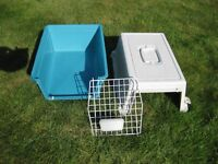 Robust plastic pet carrier. Clean and in excellent condition used only once. 60 x40 x40cms