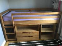 Mid sleeper cabin bed, desk and drawers