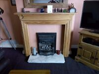 pine fire suround and marble hearth