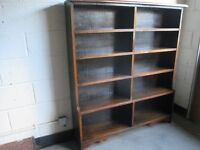 LARGE VINTAGE SOLID OAK DOUBLE BOOKCASE FREE DELIVERY