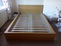 IKEA MALM double bed (oak veneer)