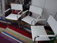 3 white leatherette chairs. Would suit office, salon, waiting room