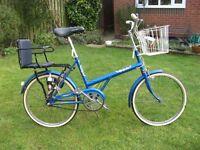 BSA Twenty Retro Bicycle with child seat, basket, dynamo lights, stand, 3 speed gears