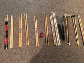 Drum stick selection and gig bag