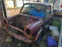 classic car mini, austin, rolling shell, banger racing, grass track, spares repair,project,barn find