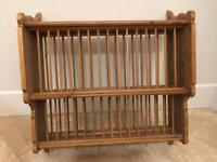 Antique Pine Wall Hanging Plate Rack