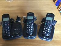 BT studio plus cordless digital phone with answering machine with 3 handsets