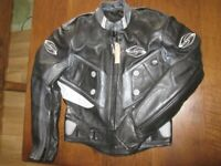 New with Tags Motorcycle Leather Jacket, Cool Superman Helmet and Peaked/Openface Helmet