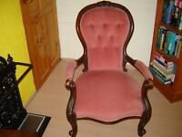 Victorian c1860 mahogany open arm button back armchair