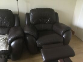 Leather manual recliner 3 seater sofa and chair