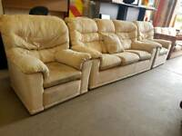 G-plan beige fabric three seater sofa with chair and recliner