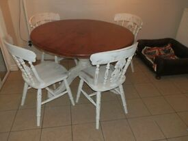 Outstanding Solid Pine Table & 4 Chairs - Shabby Chic
