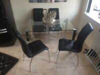 Italian dining table with four chairs