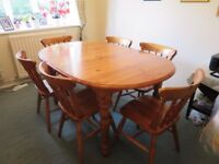 Pine extendable dining table and 6 chairs
