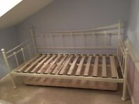 Cream Single Metal Frame Day Bed with trundle underbed to form a double bed