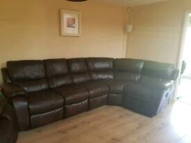 Large faux leather corner sofa and arm chair for sale