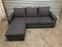 FREE DELIVERY CHARCOAL GREY FABRIC L-SHAPED CORNER SOFA