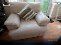 CREAM REAL LEATHER ARMCHAIR, EXCELLENT CONDITION