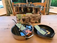 NEXT Stainless Steel 3 Pan Set, 26cm Saute Pan & 24cm Frying Pan with Copper Bases