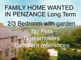 2/3 bedroom house wanted in Penzance