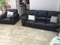 Dark brown leather 3 seater sofa & armchair